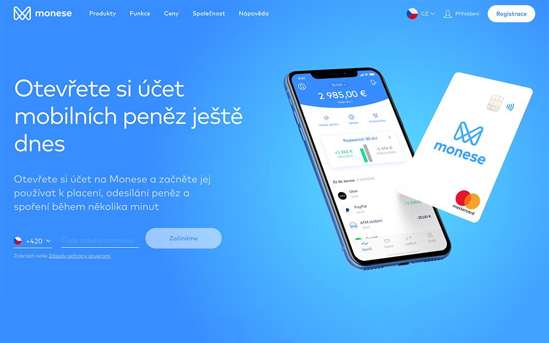Monese - náhled aplikace