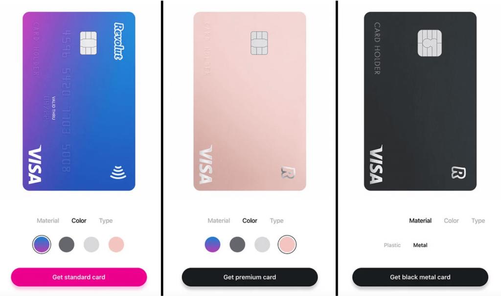 Porovnání vzhledu platebních karet Revolut