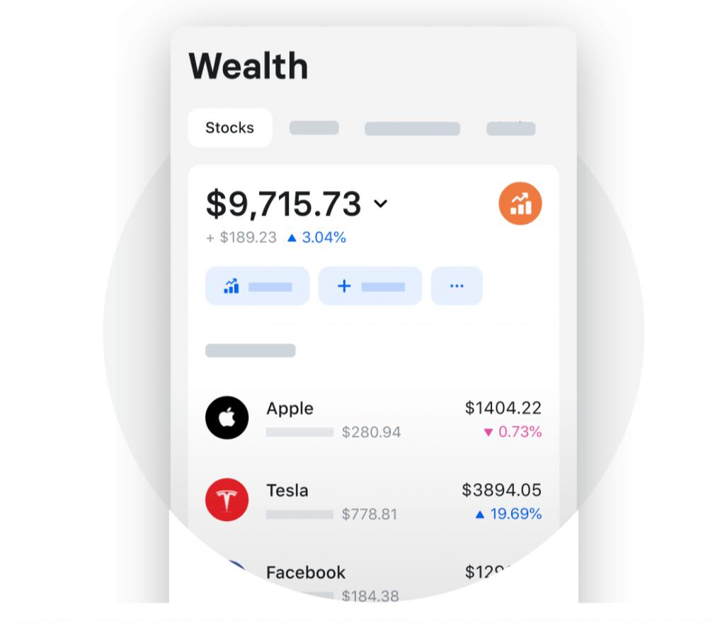 Revolut - Ukázka akcií