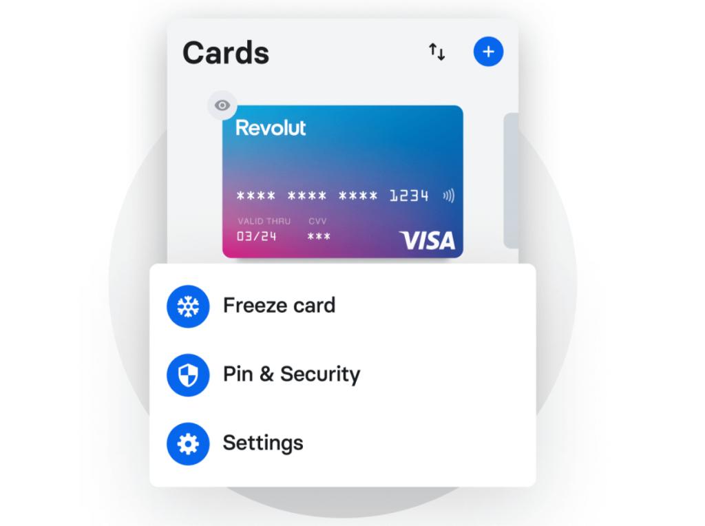 Revolut - zabezpečení karty