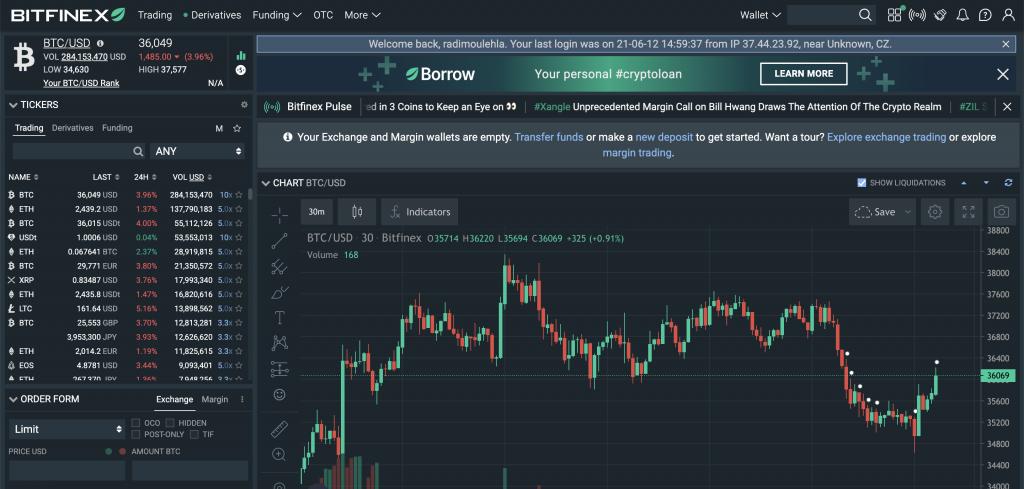 Bitfinex - Rozhraní platformy