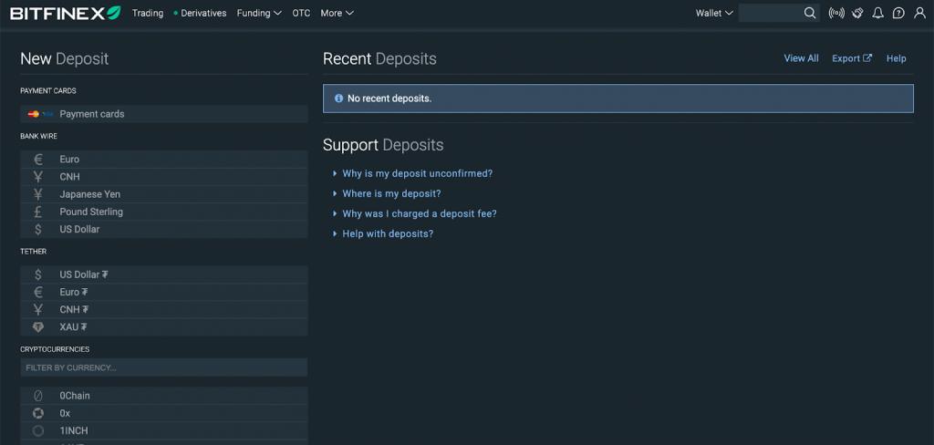 Bitfinex - Vklad